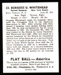 1939 Play Ball Reprints #23  Burgess Whitehead  Back Thumbnail