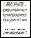 1939 Play Ball Reprints #12  Hershel Martin  Back Thumbnail