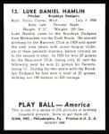 1939 Play Ball Reprints #13  Luke Hamlin  Back Thumbnail