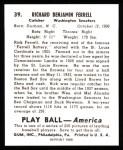 1939 Play Ball Reprints #39  Rick Ferrell  Back Thumbnail