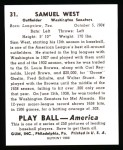 1939 Play Ball Reprints #31  Sam West  Back Thumbnail