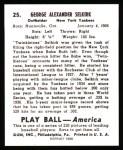 1939 Play Ball Reprints #25  George Selkirk  Back Thumbnail