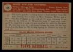 1952 Topps #114  Willard Ramsdell  Back Thumbnail