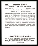 1939 Play Ball Reprints #146  Tom Sunkel  Back Thumbnail