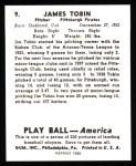 1939 Play Ball Reprints #9  James Tobin  Back Thumbnail