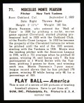 1939 Play Ball Reprints #71  Monte Pearson  Back Thumbnail