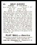 1939 Play Ball Reprints #43  Melo Almada  Back Thumbnail