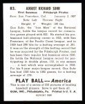 1939 Play Ball Reprints #83  Gus Suhr  Back Thumbnail