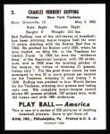 1939 Play Ball Reprints #3  Red Ruffing  Back Thumbnail
