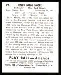 1939 Play Ball Reprints #79  Jo Jo Moore  Back Thumbnail