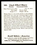 1939 Play Ball Reprints #162  Whitey Moore  Back Thumbnail