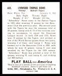 1939 Play Ball Reprints #60  Schoolboy Rowe  Back Thumbnail