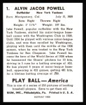 1939 Play Ball Reprints #1  Jake Powell  Back Thumbnail