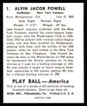 1939 Play Ball Reprints #1  Jake Powell  Back Thumbnail