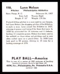 1939 Play Ball Reprints #118  Lynn Nelson  Back Thumbnail