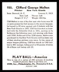 1939 Play Ball Reprints #125  Cliff Melton  Back Thumbnail