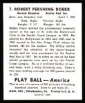 1939 Play Ball Reprints #7  Bobby Doerr  Back Thumbnail