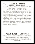 1939 Play Ball Reprints #14  Jim Tabor  Back Thumbnail