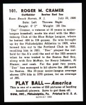 1939 Play Ball Reprints #101  Roger Cramer  Back Thumbnail