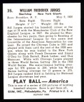 1939 Play Ball Reprints #35  Bill Jurges  Back Thumbnail