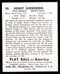 1939 Play Ball Reprints #56  Hank Greenberg  Back Thumbnail