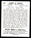 1939 Play Ball Reprints #66  Jimmy Ripple  Back Thumbnail