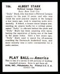 1939 Play Ball Reprints #106  Dolly Stark  Back Thumbnail