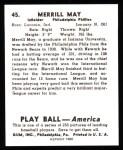 1939 Play Ball Reprints #45  Merrill May  Back Thumbnail