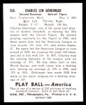 1939 Play Ball Reprints #50  Charley Gehringer  Back Thumbnail