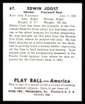 1939 Play Ball Reprints #67  Eddie Joost  Back Thumbnail