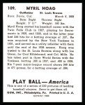 1939 Play Ball Reprints #109  Myril Hoag  Back Thumbnail