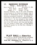 1939 Play Ball Reprints #17  Emerson Dickman  Back Thumbnail