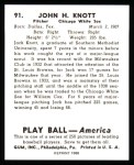 1939 Play Ball Reprints #91  John Knott  Back Thumbnail