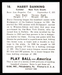 1939 Play Ball Reprints #18  Harry Danning  Back Thumbnail