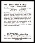 1939 Play Ball Reprints #150  James Walkup  Back Thumbnail