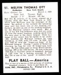 1939 Play Ball Reprints #51  Mel Ott  Back Thumbnail