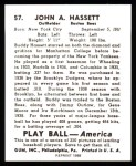 1939 Play Ball Reprints #57  Buddy Hassett  Back Thumbnail