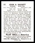1939 Play Ball Reprints #57  Buddy Hassett  Back Thumbnail