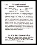 1939 Play Ball Reprints #134  Tot Presnell  Back Thumbnail