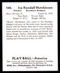 1939 Play Ball Reprints #142  Ira Hutchinson  Back Thumbnail