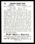 1939 Play Ball Reprints #76  Goody Rosen  Back Thumbnail