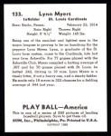 1939 Play Ball Reprints #133  Lynn Myers  Back Thumbnail