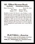 1939 Play Ball Reprints #127  Gil Brack  Back Thumbnail