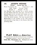 1939 Play Ball Reprints #20  Joe Heving  Back Thumbnail