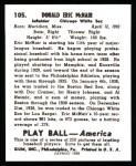 1939 Play Ball Reprints #105  Rabbit McNair  Back Thumbnail