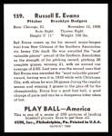 1939 Play Ball Reprints #159  Red Evans  Back Thumbnail