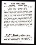 1939 Play Ball Reprints #65  Harry Craft  Back Thumbnail