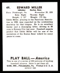 1939 Play Ball Reprints #49  Eddie Miller  Back Thumbnail