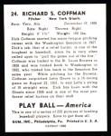 1939 Play Ball Reprints #24  Richard Coffman  Back Thumbnail