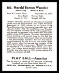 1939 Play Ball Reprints #120  Rabbit Warstler  Back Thumbnail